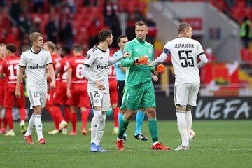 Piłkarze Legii w meczu ze Spartakiem Moskwa