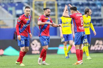 Piłkarze Rakowa Częstochowa podczas meczu o Puchar Polski