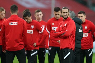 Piłkarze reprezentacji podczas treningu