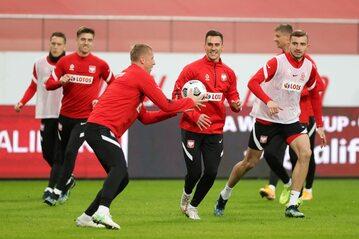 Piłkarze reprezentacji Polski na treningu
