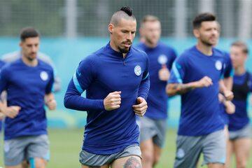 Piłkarze Słowacji na treningu