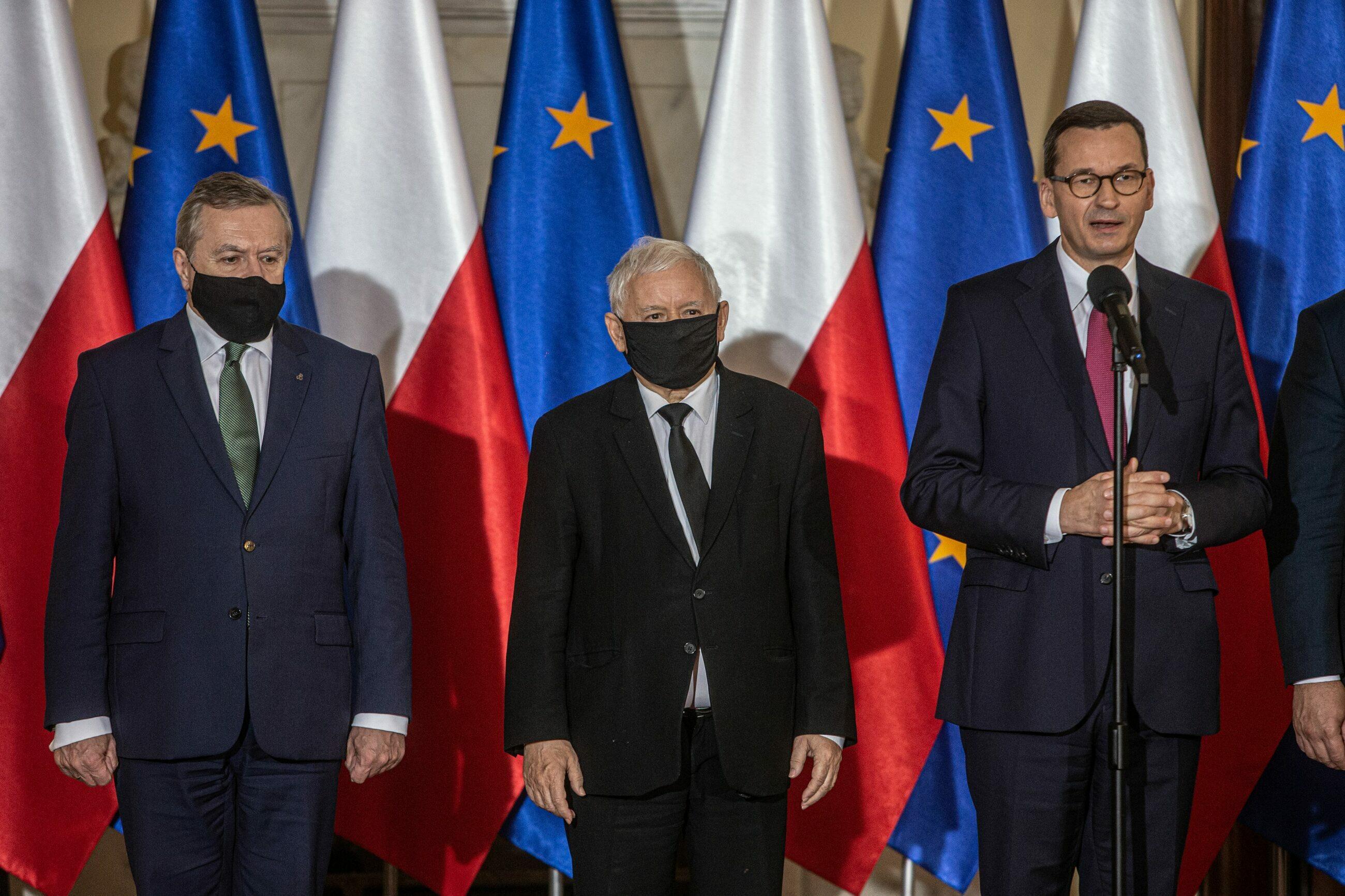 Piotr Gliński, Jarosław Kaczyński i Mateusz Morawiecki