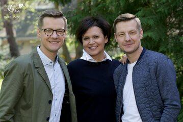 Piotrek i Paweł Zduńscy z mamą