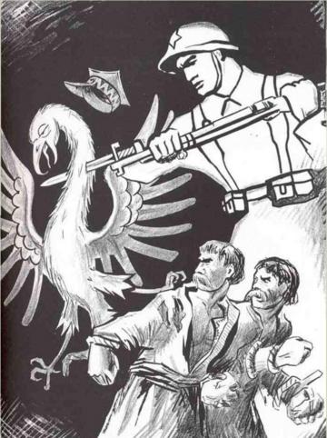 Plakat propagandowy ZSRR. Żołnierz Armii Czerwonej morduje białego orła i wyzwala z okowów chłopów
