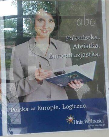 Plakat Unii Wolności z Kamilą Gasiuk-Pihowicz