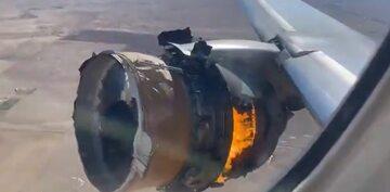 Płonący silnik Boeinga 777