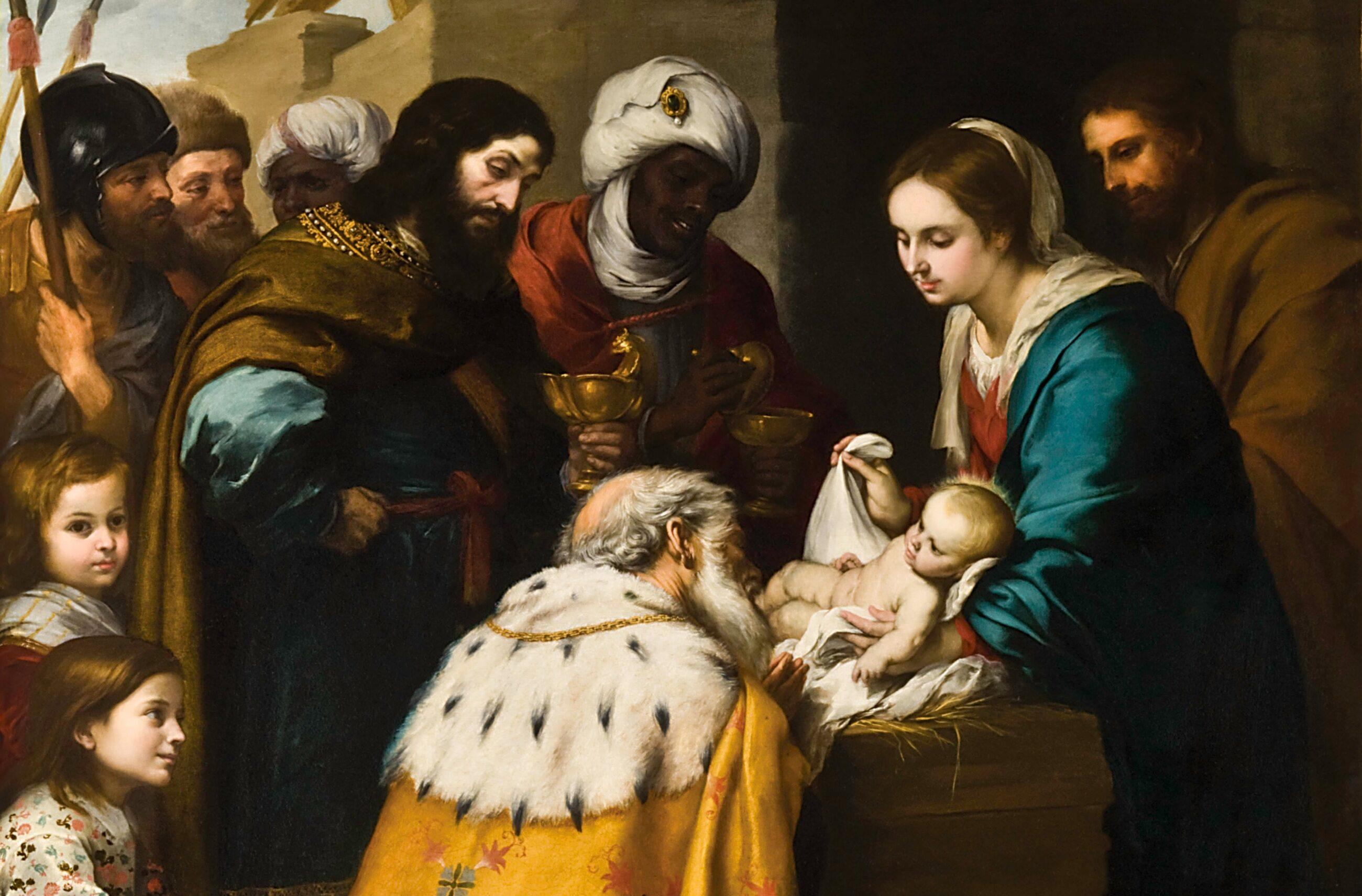 Pokłon Trzech Mędrców przed nowo narodzonym Jezusem, obraz z XVII wieku