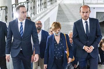 Politycy KO, od prawej: Borys Budka, Urszula Augustyn i Cezary Tomczyk