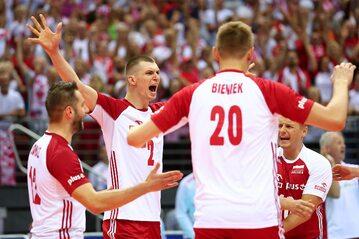 Polscy siatkarze podczas meczu z Tunezją