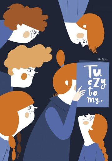 """Polska ilustracja dla dzieci (wystawa w Zachęcie """"Tu czy tam?"""") – plakat Oli Płocińskiej"""