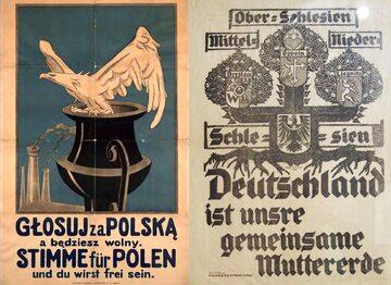 Polski i niemiecki plakat propagandowy przed plebiscytem na Górnym Śląsku