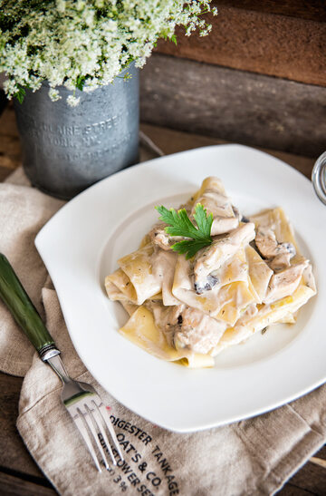 Porowo-pieczarkowy makaron lasagne