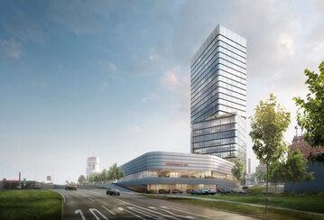 Porsche Design Tower i Porsche Centrum na Pragsattel