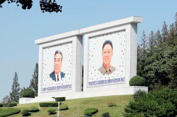 Portrety przywódców obu Korei, przygotowane przez Północ podczas koreańskiego szczytu