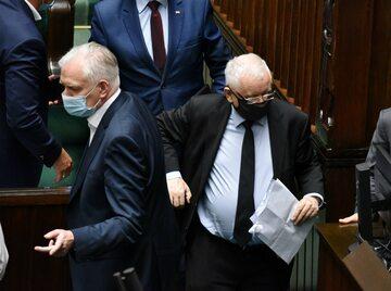 Posiedzenie Sejmu, na zdjęciu: Jarosław Kaczyński i Jarosław Gowin