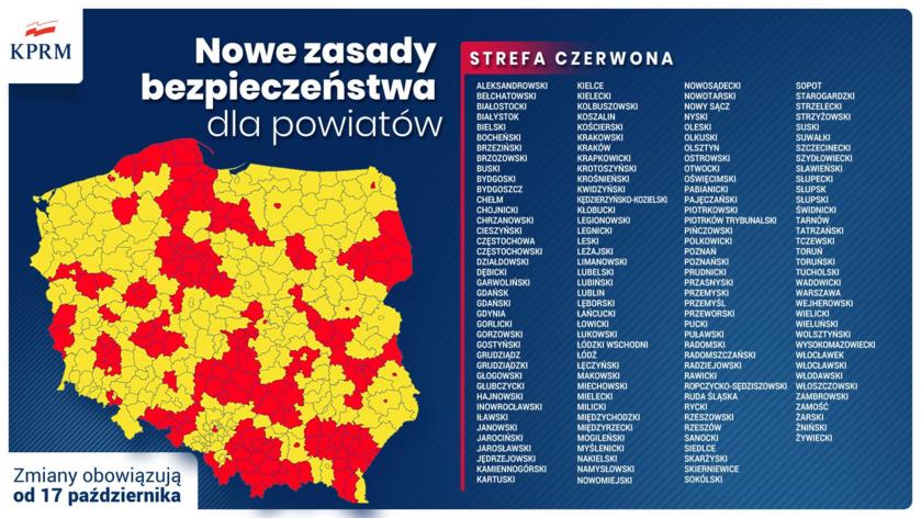 Powiaty w strefie czerwonej (zmiany obowiązują od 17 października)