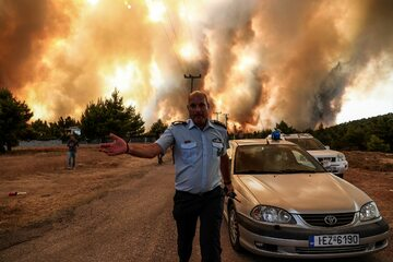 Pożar lasu pod Atenami, sierpień 2021 r.