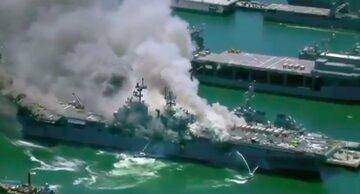 Pożar na amerykańskim okręcie w San Diego