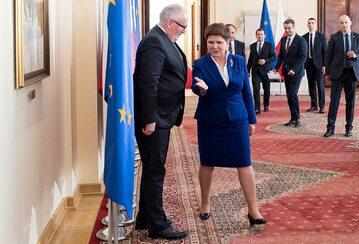 Premier Beata Szydło podczas spotkania z wiceszefem KE Fransem Timmermansem