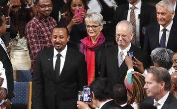 Premier Etiopii Abiy Ahmed Ali podczas ceremonii wręczenia Pokojowej Nagrody Nobla w Oslo (2019)