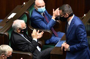 Premier Mateusz Morawiecki i prezes PiS Jarosław Kaczyński w Sejmie