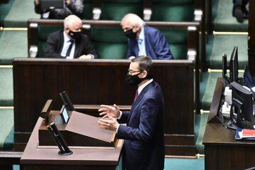 Premier Mateusz Morawiecki podczas wystąpienia w sprawie budżetu UE