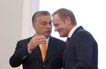 Premier Węgier Viktor Orban i przewodniczący Rady Europejskiej Donald Tusk