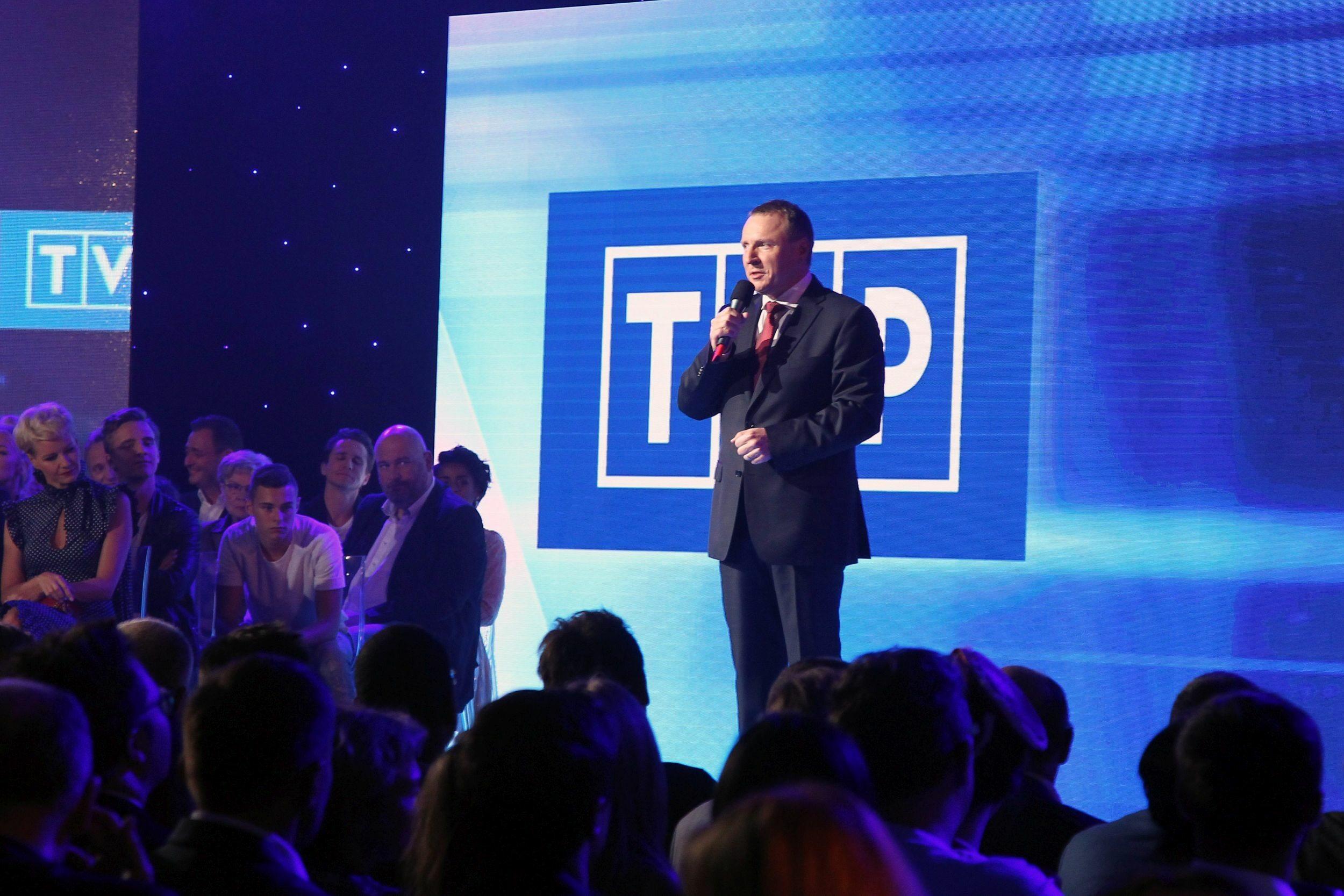 Prezentacja jesiennej ramówki TVP. Na scenie prezes Jacek Kurski
