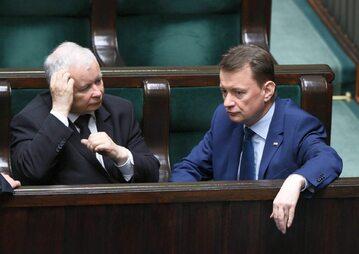 Prezes PiS Jarosław Kaczyński, szef MSWiA Mariusz Błaszczak