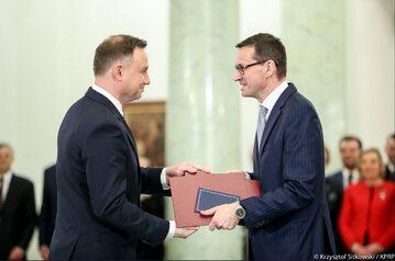 Prezydent Andrzej Duda, premier Mateusz Morawiecki