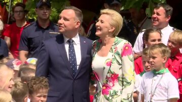 Prezydent Andrzej Duda wraz z Pierwszą Damą Agatą Kornhauser-Dudą