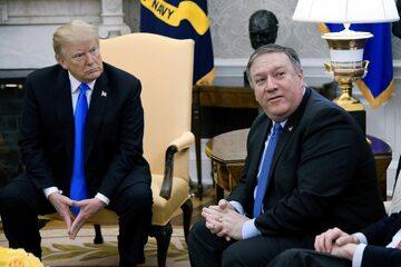 Prezydent Donald Trump i sekretarz stanu USA Mike Pompeo