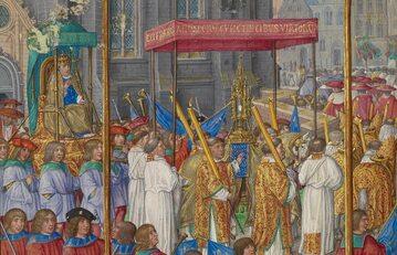 Procesja z okazji Bożego Ciała na średniowiecznej miniaturze