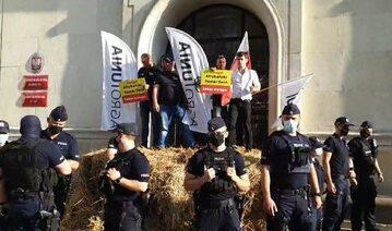 Protest AGROunii pod ministerstwem rolnictwa