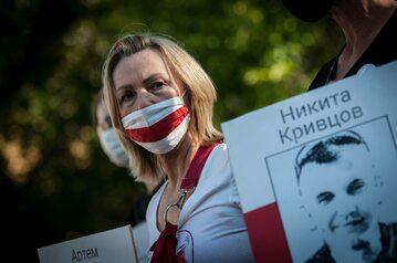 Protest Białorusinów w Rzymie, przypominający o uwięzieniu Romana Protasiewicza