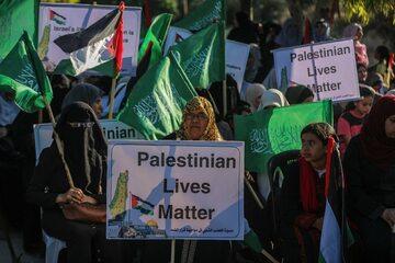 Protest zorganizowany przez Hamas