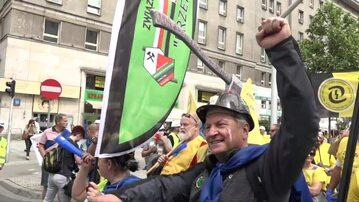 Protest związków zawodowych górników i energetyków w Warszawie