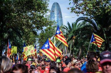 Protest zwolenników niepodległości Katalonii