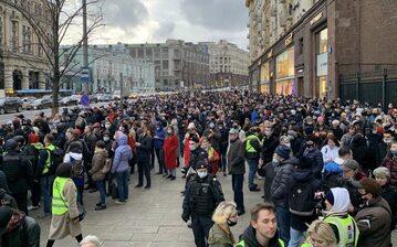 Protestujący w Moskwie