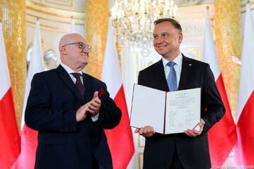 Przewodniczący PKW Sylwester Marciniak i Andrzej Duda
