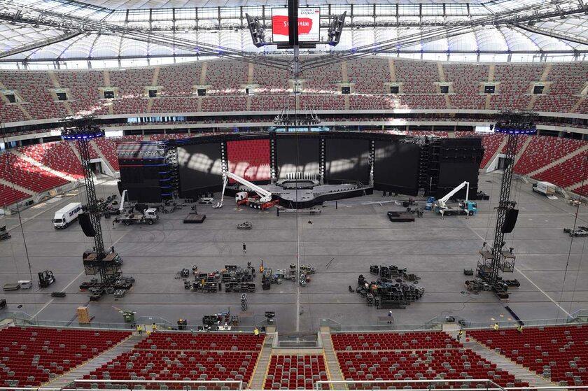 """Przygotowania do koncertu """"Solidarni z Białorusią"""" na PGE Narodowym"""