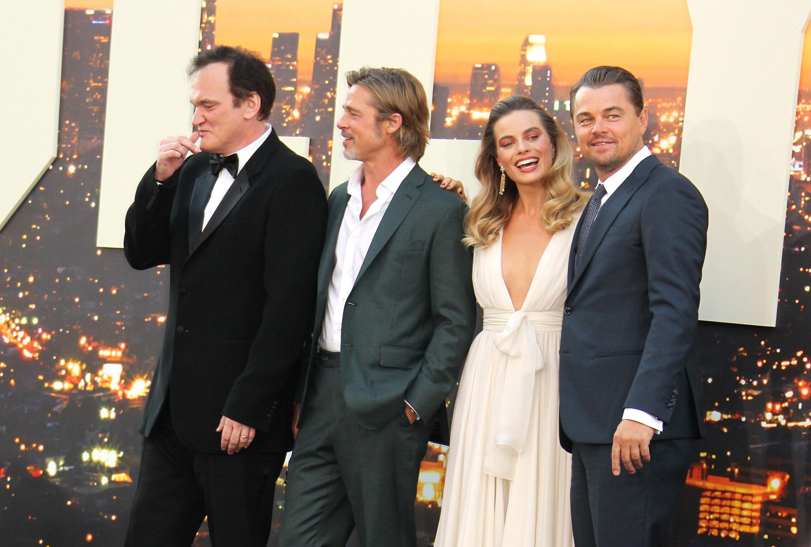 Quentin Tarantino, Brad Pitt, Margot Robbie, Leonardo DiCaprio