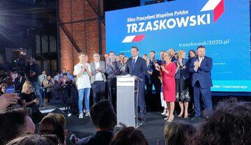 Rafał Trzaskowski podczas wieczoru wyborczego w Warszawie