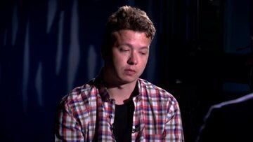 """Raman Pratasiewicz podczas """"wywiadu"""" w państwowej telewizji białoruskiej"""