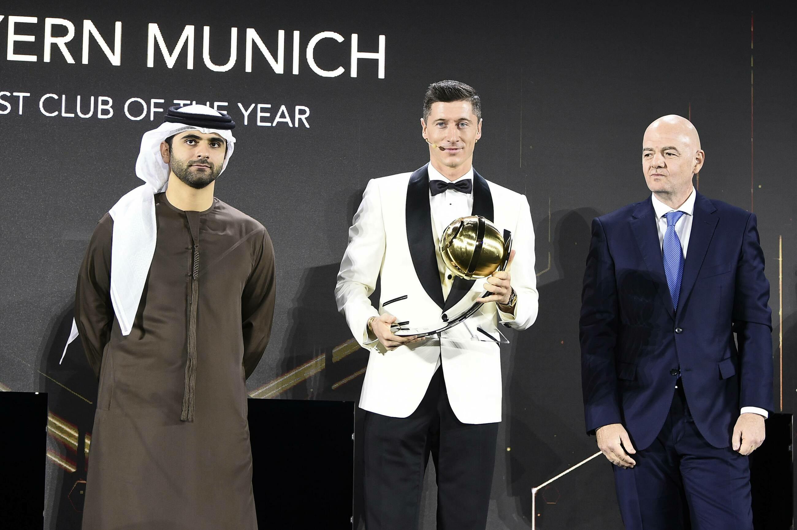 Robert Lewandowski na gali Globe Soccer Awards