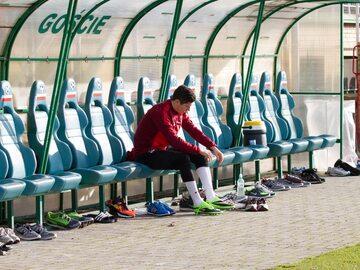 Robert Lewandowski na stadionie Groclinu