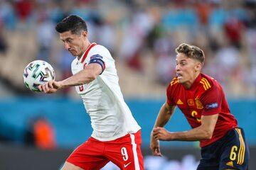 Robert Lewandowski w meczu z Hiszpanią