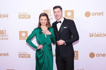 Robert Lewandowski z żoną Anną