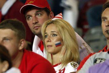 Rosyjscy kibice po przegranej z Walią