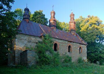 """Ruiny cerkwi we wsi Królik Wołoski, opuszczonej w trakcie akcji """"Wisła"""""""